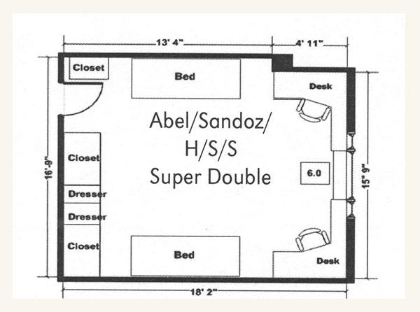 Sandoz Hall Super Double Floor Plan