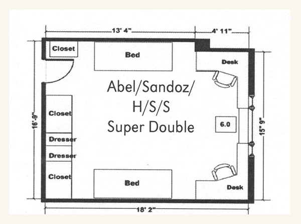Schramm Hall Super Double Floor Plan