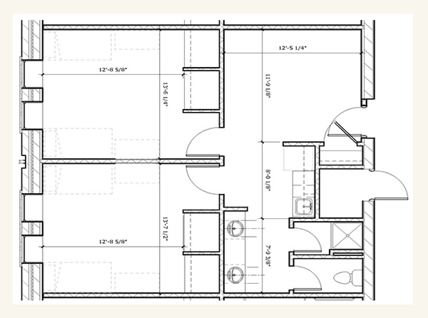 Suite Style Double Bedroom Floor Plan