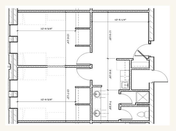Suite Style Double Bedroom Floor Plan