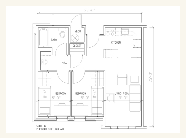 The Courtyards Floor Plan 2-Person