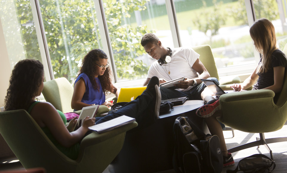 Students in study area of residence hall