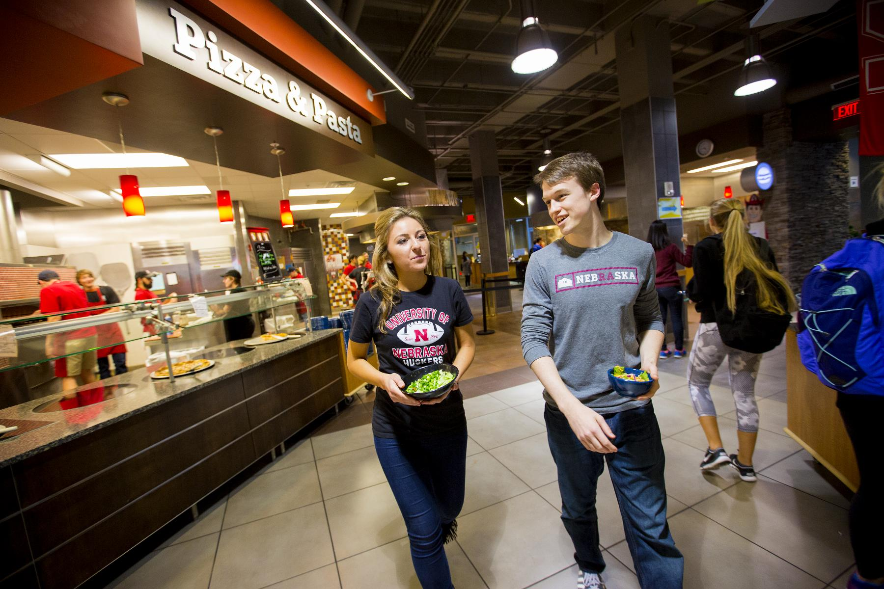 Students in the Abel/Sandoz dining center.