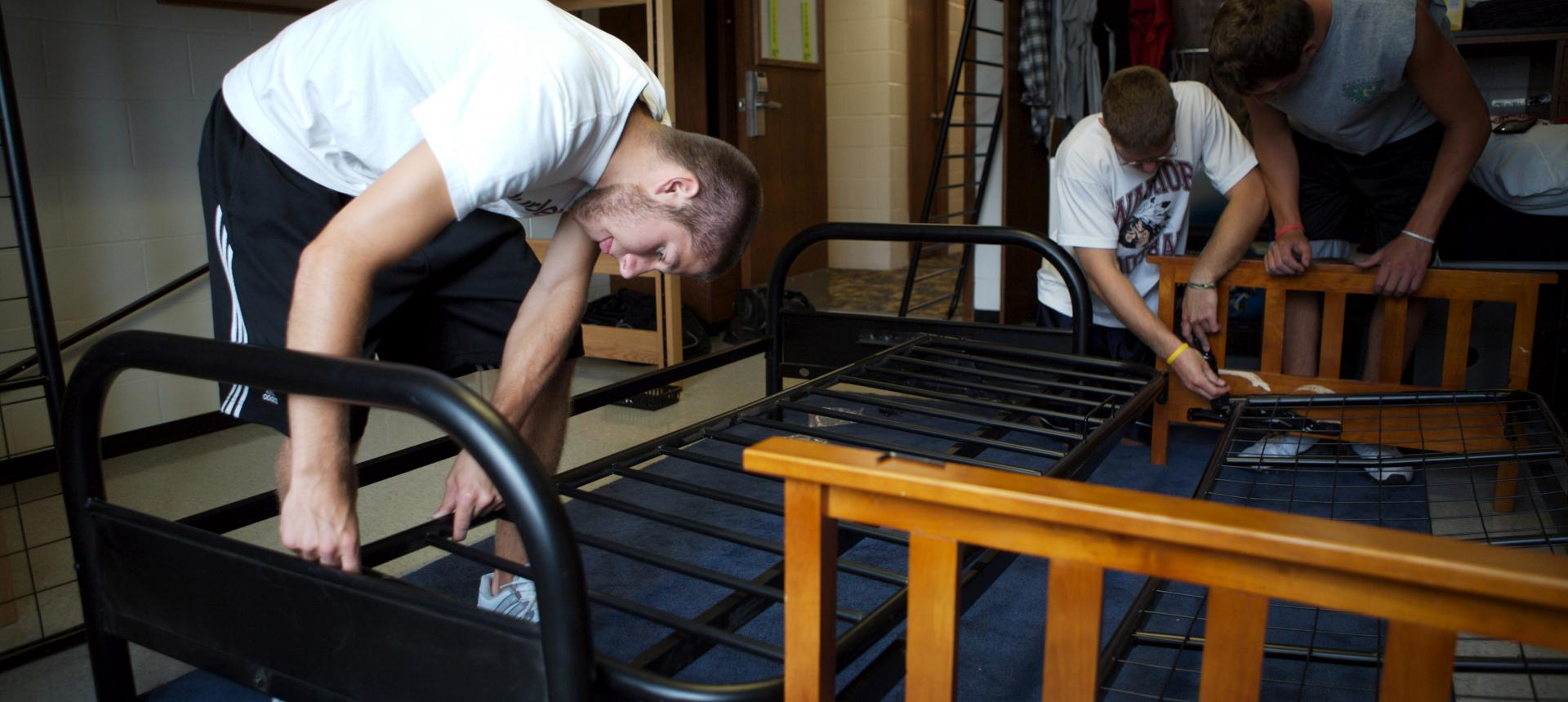 Putting a futon together.