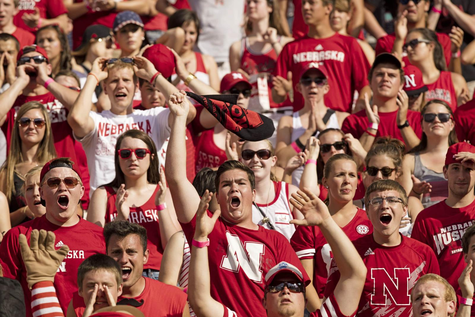 Students at a Nebraska Football game.
